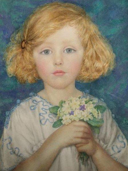 Jeune fille avec des primevères Margaret W Tarrant
